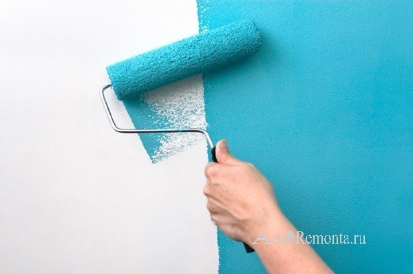 Покраска стен водоэмульсионной краской валиком