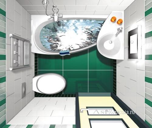 Проект дизайна интерьера очень маленькой совмещенной ванной комнаты с угловой ванной и угловым умывальником