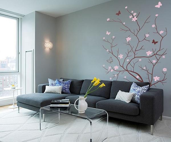 Дизайн стены с рисунком дерева