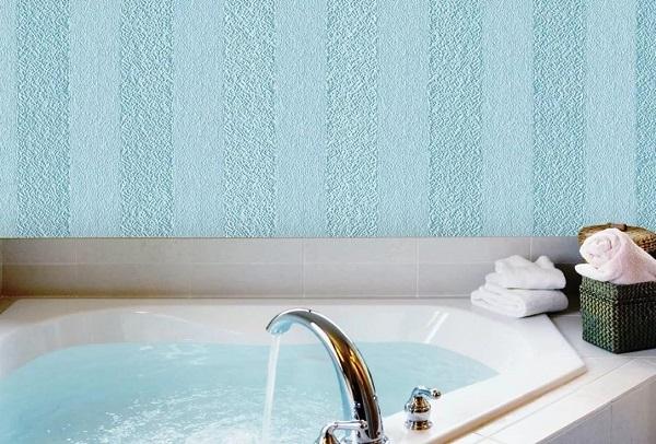Текстурные влагостойкие обои под покраску в ванной комнате